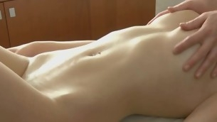 Sweet lover gets her titillating body rubbed encircling oil by stud