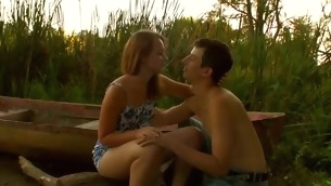 Staggering legal years teenager pair are having steamy hawt sex at the lakeside