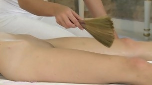 Bewitching Lola and Angel's steamy hot massage session